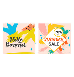 Memphis summer hand drawing and geometry pattern vector