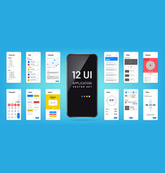 Mobil app interface ui ux screen wireframe vector