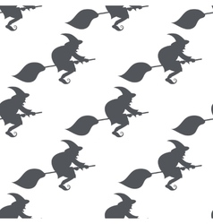 monochrome pattern witch on a broomstick vector image