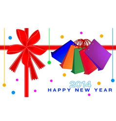 new year gift card shopping bags vector image