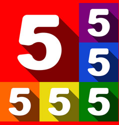 number 5 sign design template element set vector image