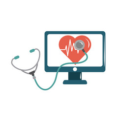 online doctor computer stethoscope heartbeat care vector image