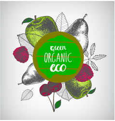 organic eco food banner poster hand drawn vector image