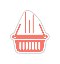 Paper sticker on white background basket shop vector