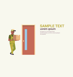 postman in uniform holding cardboard parcel box at vector image