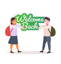 pupils with backpacks holding welcome back sticker vector image