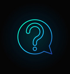 Question mark in speech bubble blue outline vector
