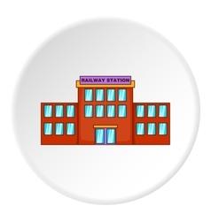 Railway station building icon cartoon style vector