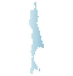 Sakhalin island map hex-tile mosaic vector