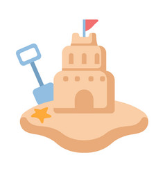 Sand castle flat vector