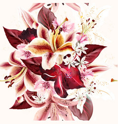 seamless background or pattern with lily flowers vector image