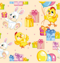 seamless pattern chicken and rabbit happy vector image