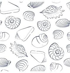 Seashells white seamless background vector