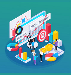 Seo monitoring isometric composition vector