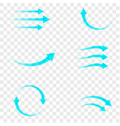 Set blue arrow showing air flow isolated on vector