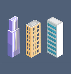set modern isometric buildings skyscrapers vector image