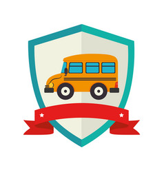 Shield school bus with ribbon vector