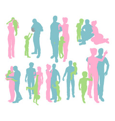 silhouettes a happy family vector image