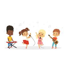 singing kids cute children choir kids vector image
