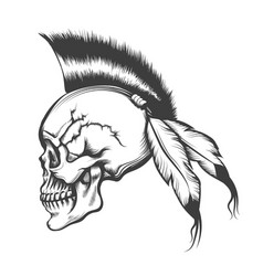 Skull with iroquois hairstyle engraving vector