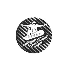 snowboarding school round logo silhouette a vector image