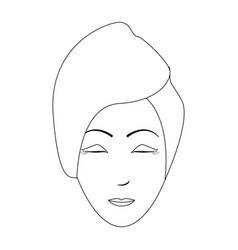 Spa woman face with towel black and white vector