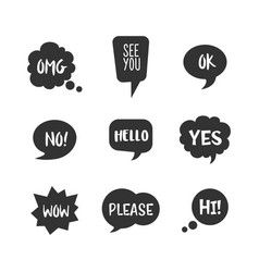 Speech bubbles with short message icon set vector