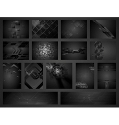 Tech geometric black backgrounds collection vector image