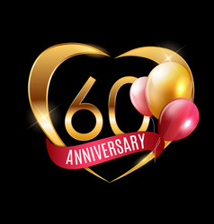 Template gold logo 60 years anniversary with vector