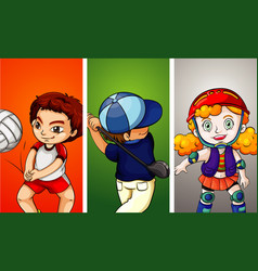 three kids doing different sports vector image