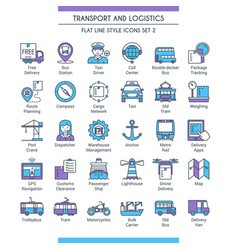 transport and logistic icons 02 vector image