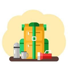Travel kit with backpack and camping stuff in Flat vector