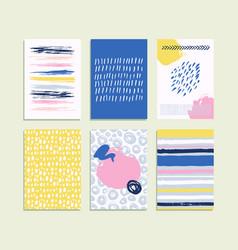 trendy set brush strokes card hand drawn vector image