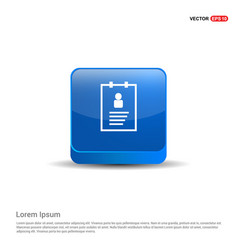 User identity card - 3d blue button vector