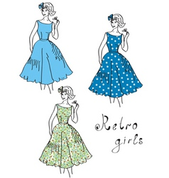 Vintage girls vector