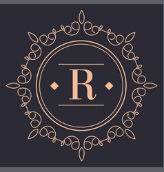 vintage rounded label or logotype luxury brand vector image