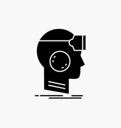 Vr googles headset reality virtual glyph icon vector