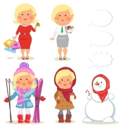 Winter holidays set of cartoon women vector