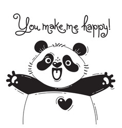 with joyful panda who says - you make vector image