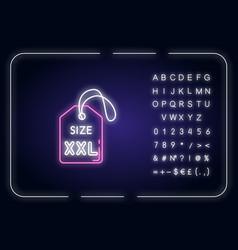 Xxl size label neon light icon vector