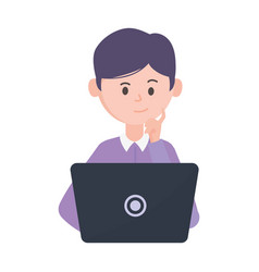 young man using laptop computer social network vector image