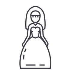 bride sign line icon sign on vector image