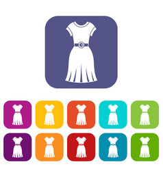 dress icons set flat vector image