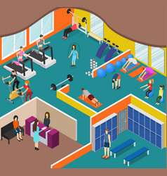 interior gym panorama with exercise equipment vector image