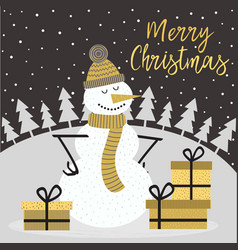 merry christmas gold card with snowman vector image vector image
