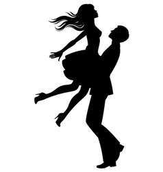 Silhouette of couple in love vector image vector image