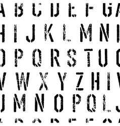 Stencil Grunge Alphabet Seamless Pattern Black and vector image vector image