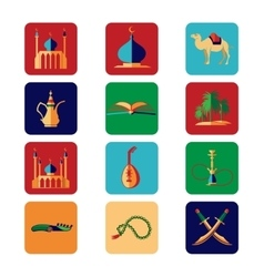 Arabian icons set vector image