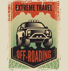 design template of poster in retro style with suv vector image vector image