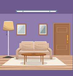 room home interior sofa mirror floor lamp door vector image vector image